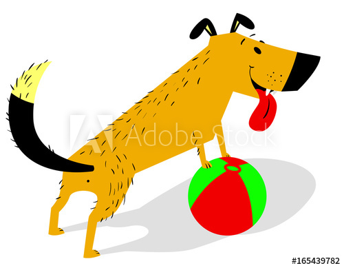 Pet clipart playful dog. Cartoon with ball cheerful