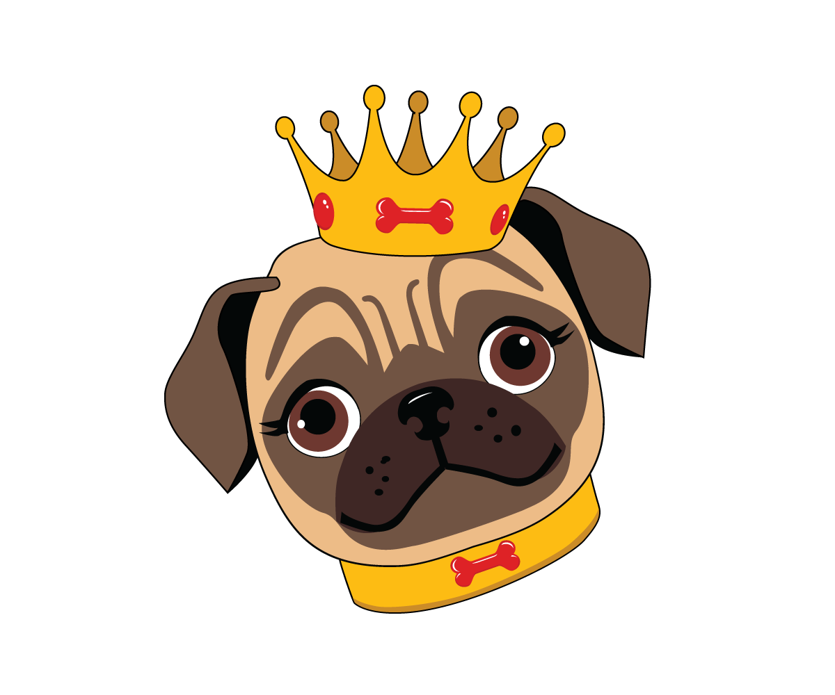 Pet clipart pug. Upmarket elegant care logo