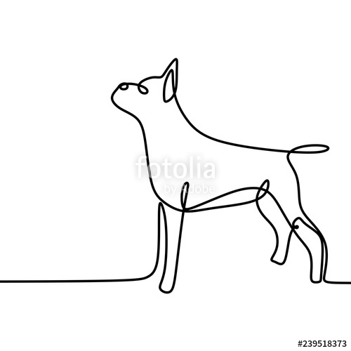 Dog one line drawing. Pet clipart single animal
