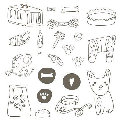 Pet clipart stuff. Cute hand drawn doodle
