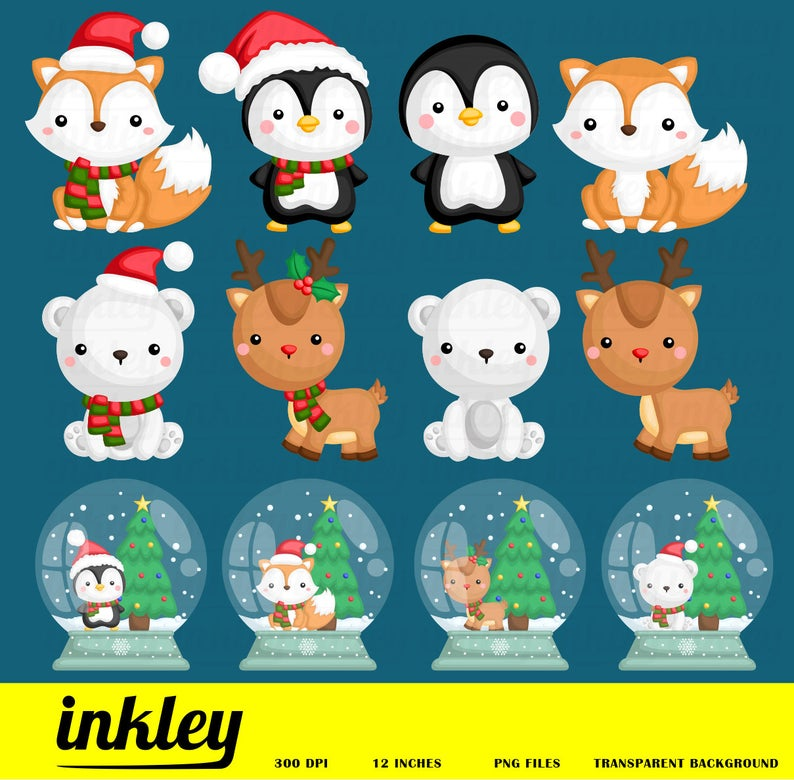 Animal clip art snowglobe. Pet clipart winter