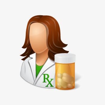 Female medicine drug bottles. Pharmacist clipart