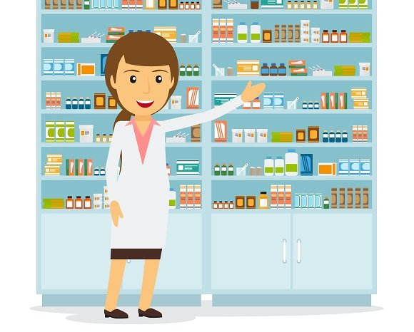 Cilpart fanciful smiling female. Pharmacist clipart