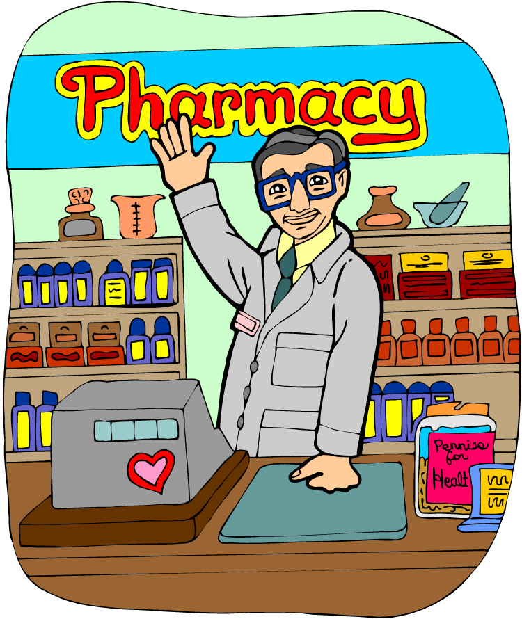 Free drugstore building cliparts. Pharmacy clipart drug store