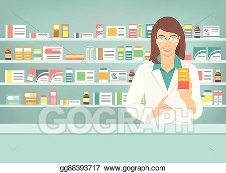 Vector art pharmacist woman. Pharmacy clipart