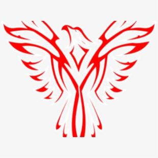 Flag red blue bird. Phoenix clipart emblem