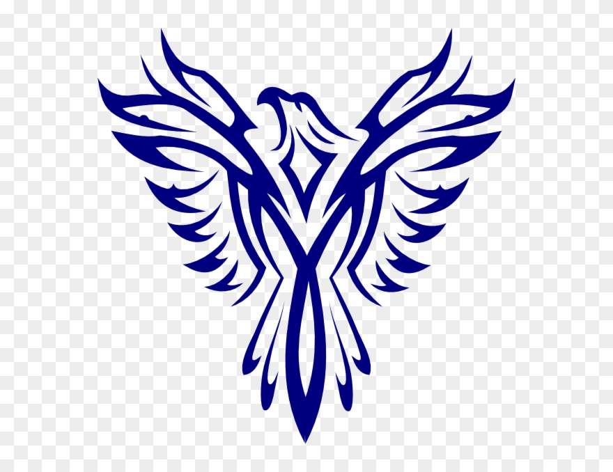 Phoenix clipart emblem. Blue clip art logo