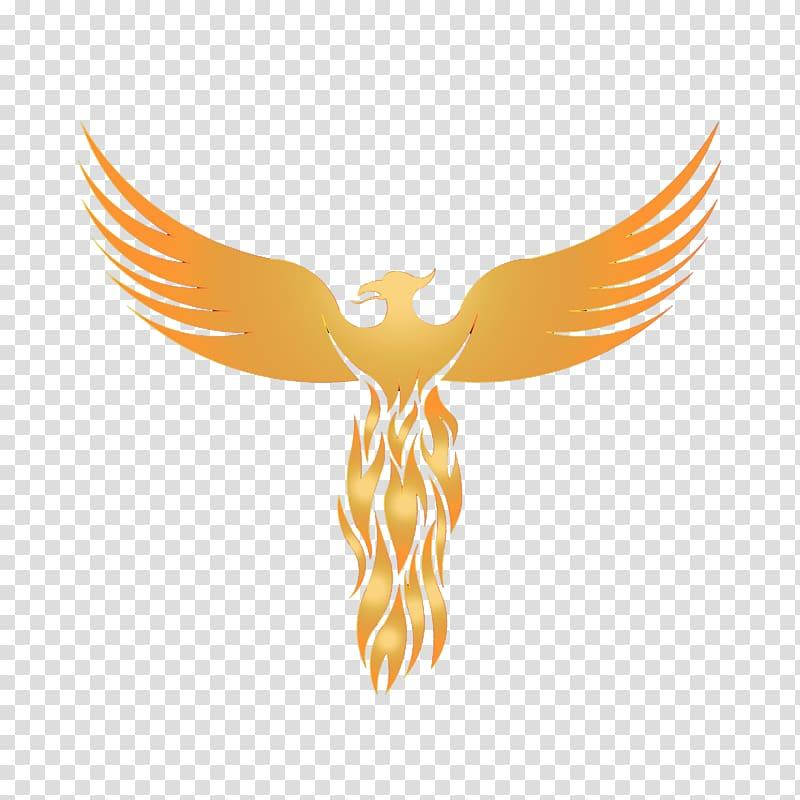 Orange animated illustration logo. Phoenix clipart graphic design