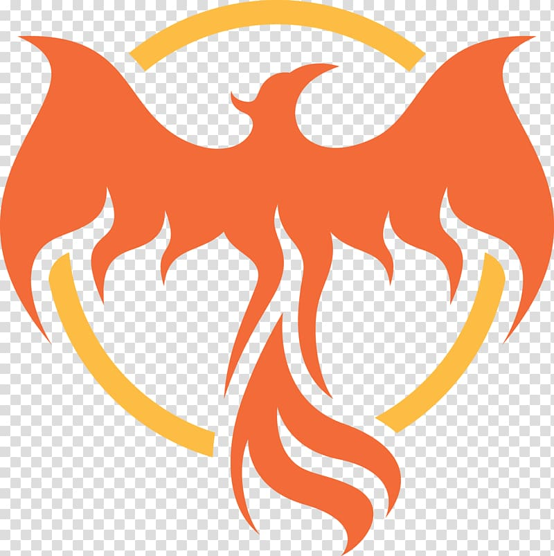 Round yellow and orange. Phoenix clipart graphic design