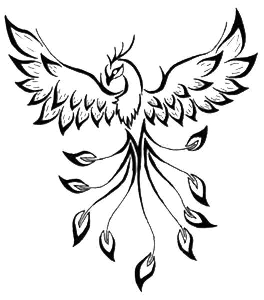 Phoenix clipart meaning. Tattoo flash drawing image