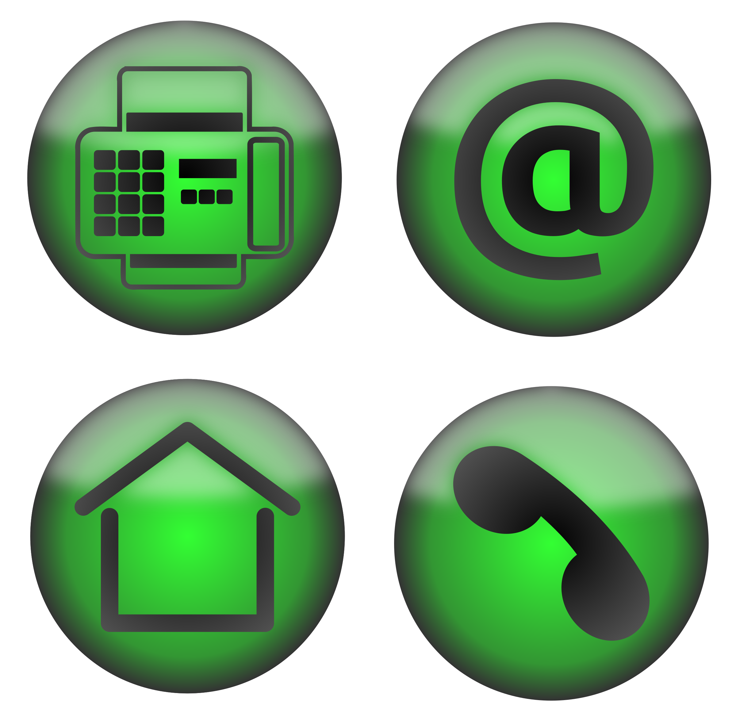 Four contact icons big. Telephone clipart green phone