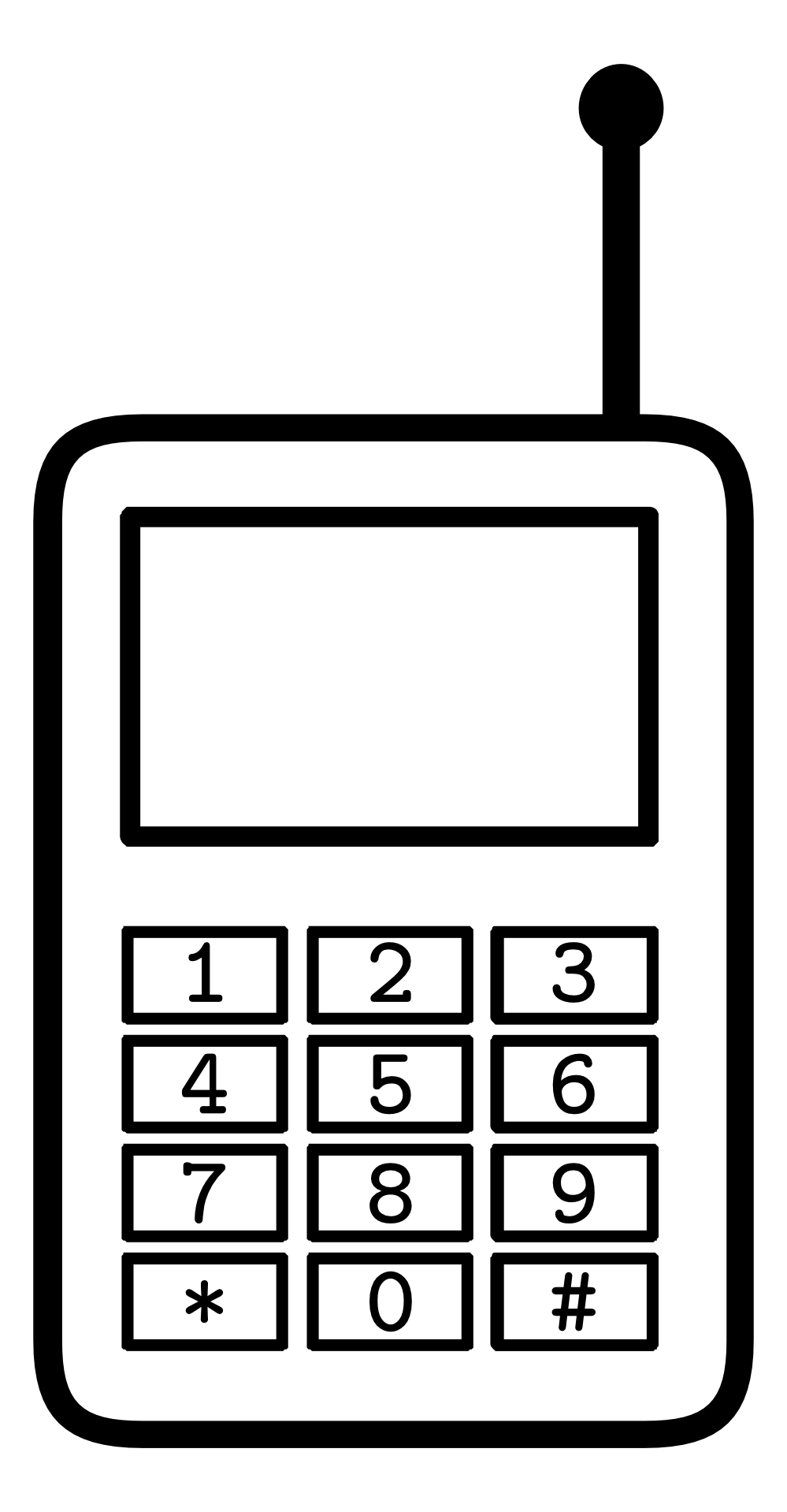 Cell black and white. Phone clipart simple
