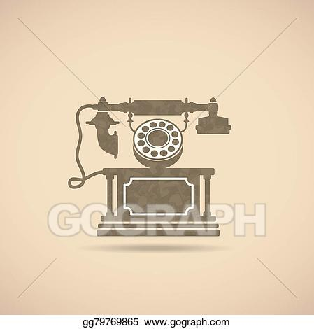 Phone clipart vintage phone. Vector art drawing gg