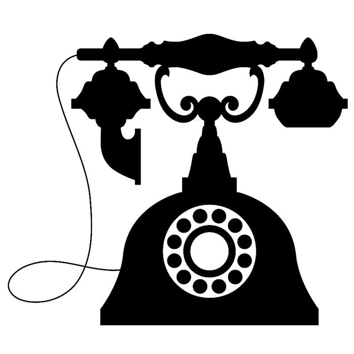 Download silhouette telephone drawing. Phone clipart vintage phone