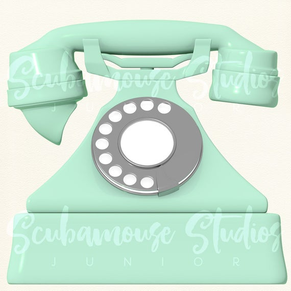Phone clipart vintage phone. Green single telephone retro