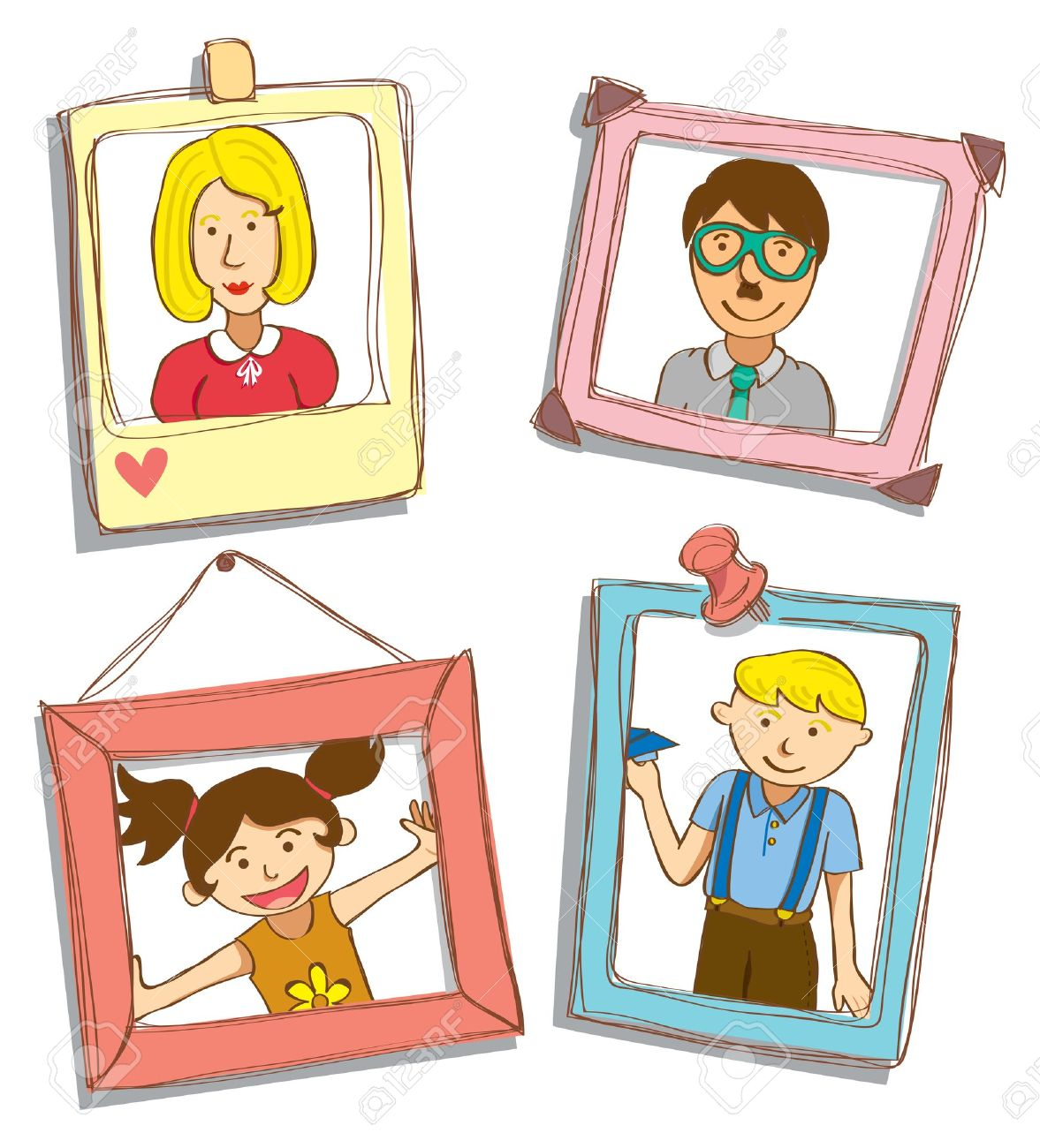 Photo clipart. Cute family portrait