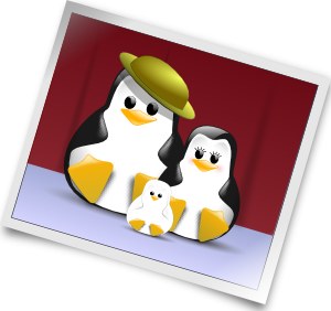 Happy penguins family clip. Photo clipart