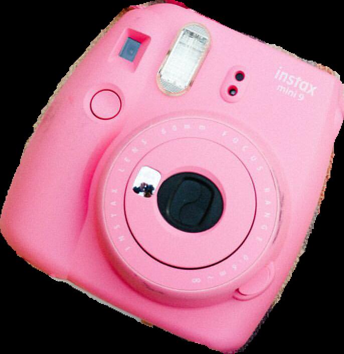 Polaroid camera pink sticker. Photo clipart instax