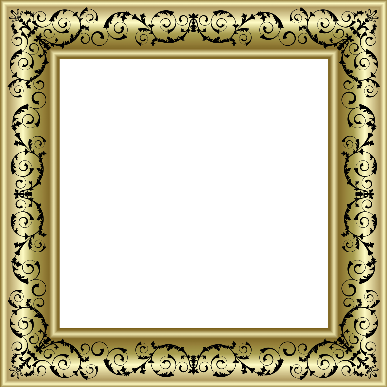 Photo frame png. Gold with black ornaments