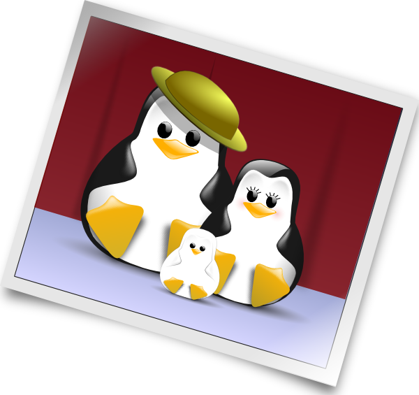 Happy penguins family photo. Photograph clipart
