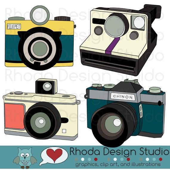 Photograph clipart color camera. Vintage cameras digital clip