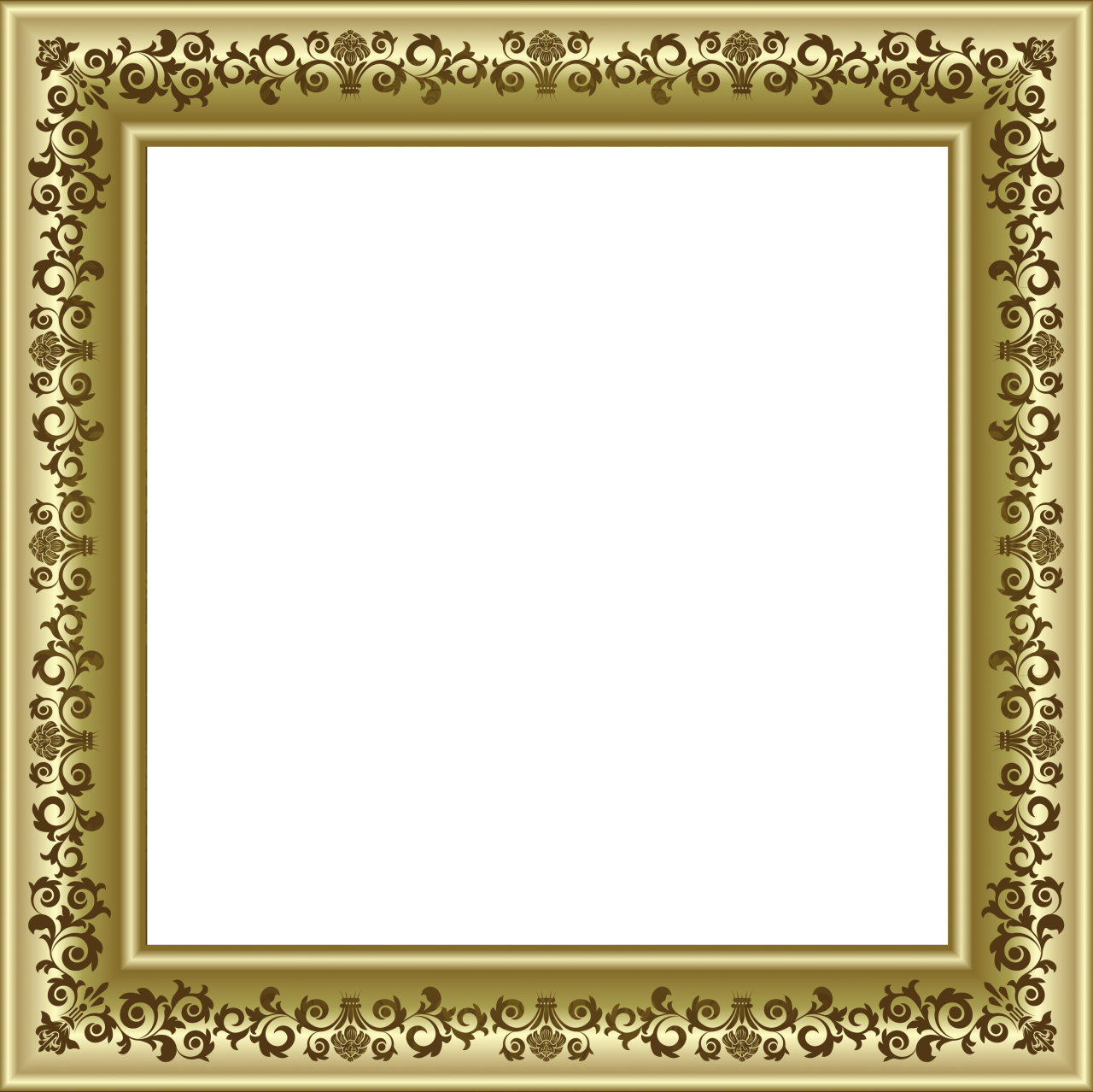 Vintage photo frame png. Gold with brown ornaments