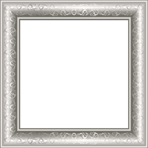 Transparen photo with ornaments. Silver picture frame png