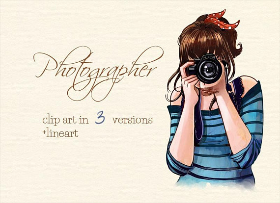 Photographer clipart. Clip art illustration camera