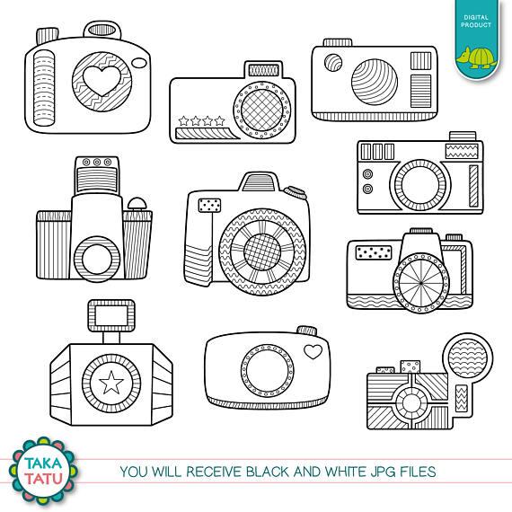 Photographer clipart doodle. Camera doodles digital stamp