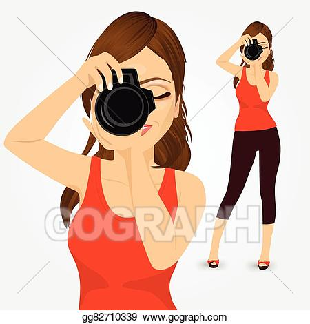 Eps vector young taking. Photography clipart woman photographer