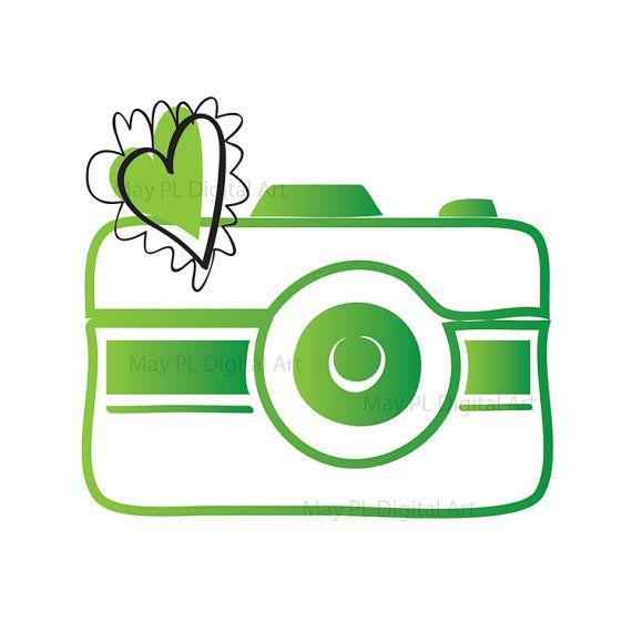 Digital clip art logo. Photographer clipart green camera