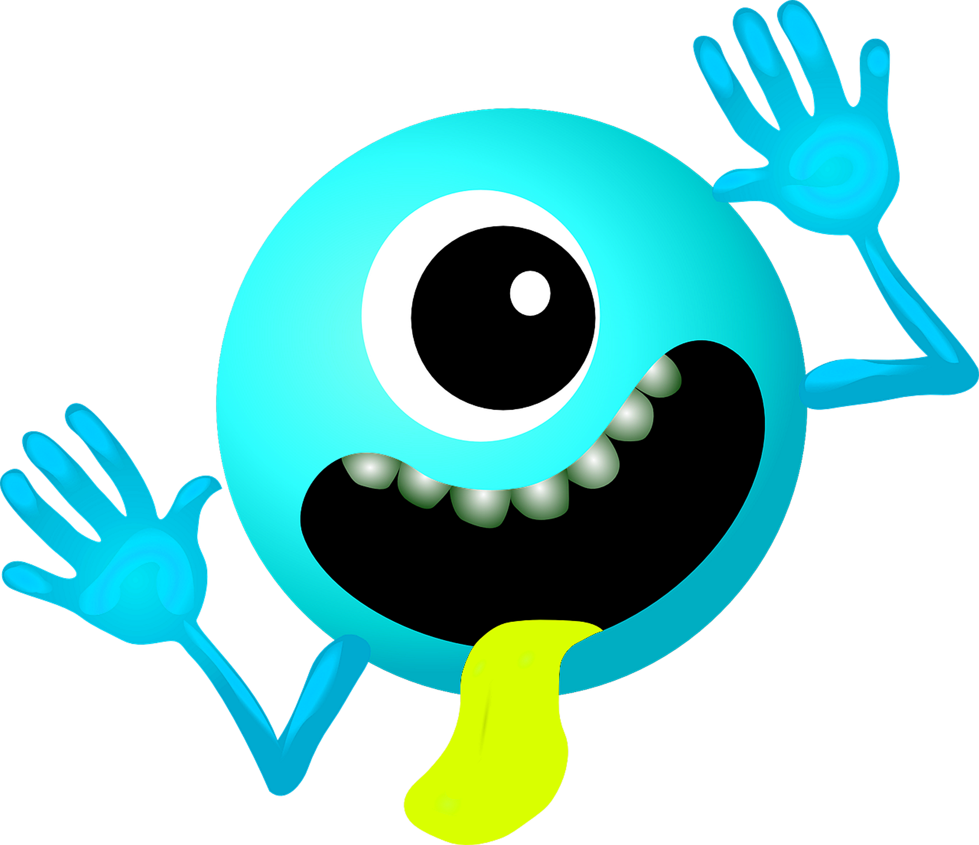 Blue monster face image. Photographer clipart smiley