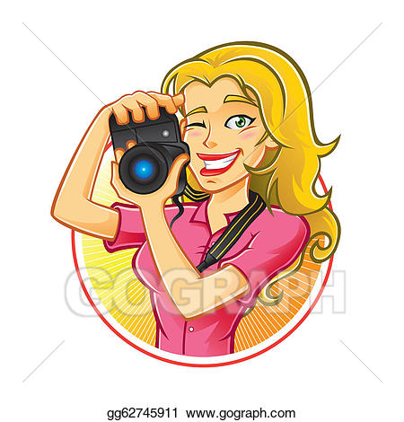 Vector illustration woman photographer. Photography clipart take