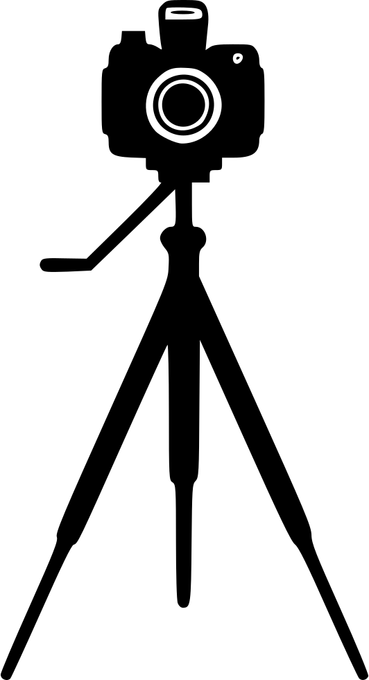 Camera on stand svg. Photography clipart tripod