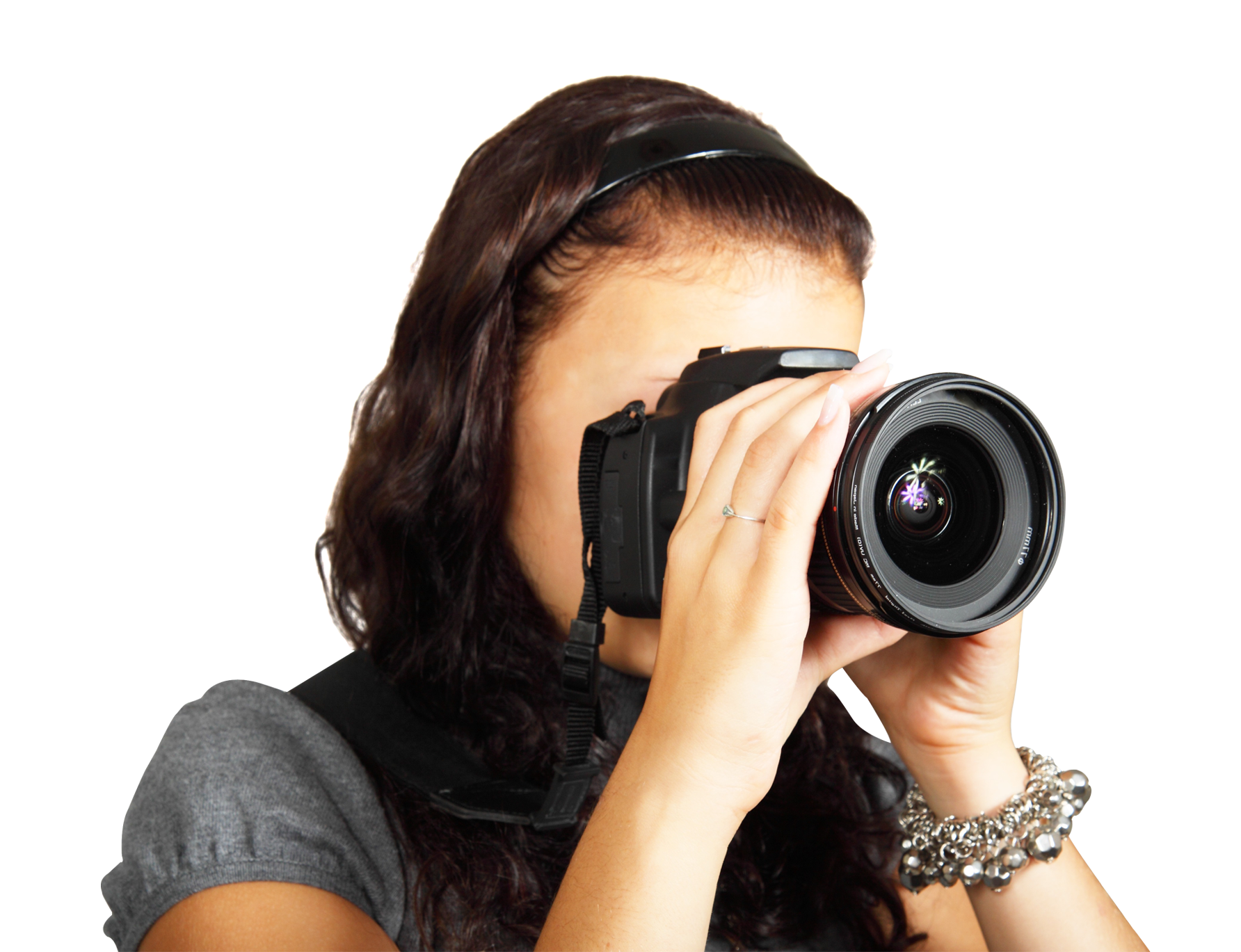 Young female taking photos. Photographer clipart woman photographer