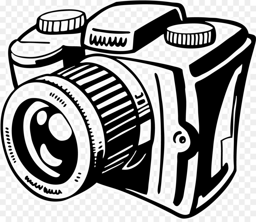 Black and white camera. Photography clipart