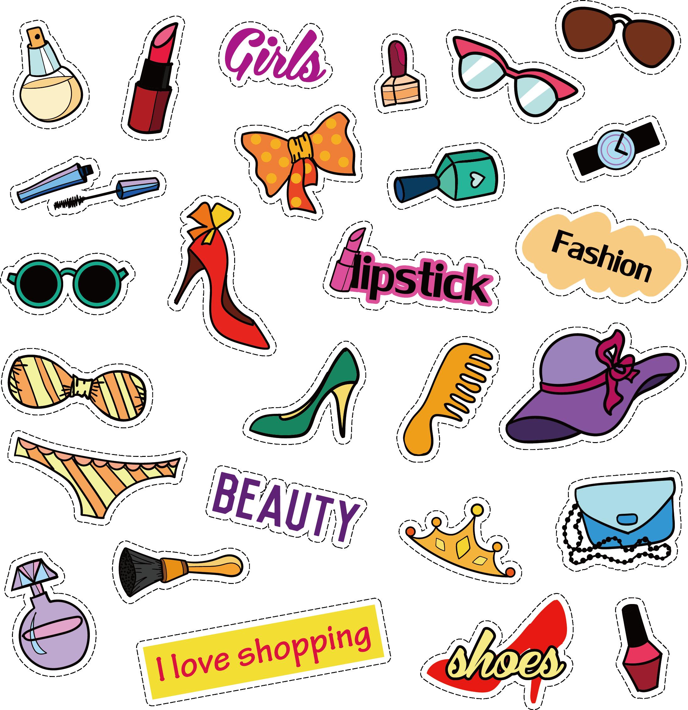 Photography clipart fashion photography. Cartoon women supplies shopping