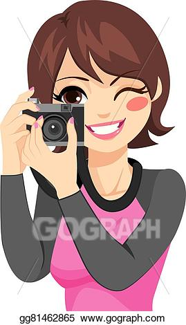 Photography clipart woman photographer. Vector illustration taking photo