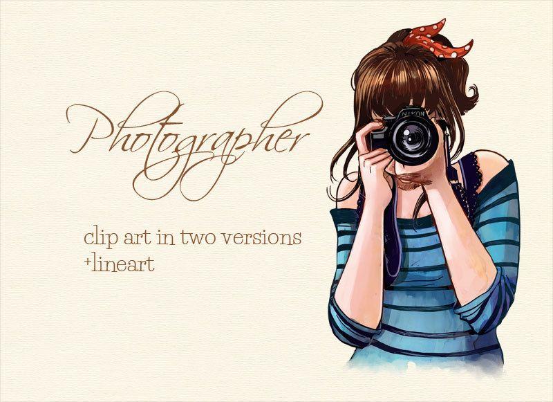 Clip art illustration camera. Photography clipart woman photographer