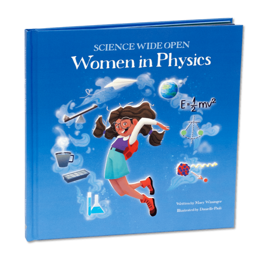 Women in physics science. Textbook clipart exercise book