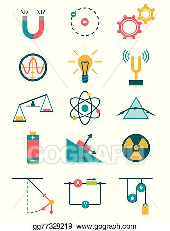 Vector illustration icons set. Physics clipart procedure