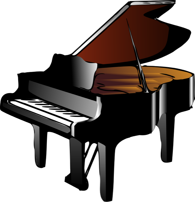 Piano clipart. Keyboard and grand