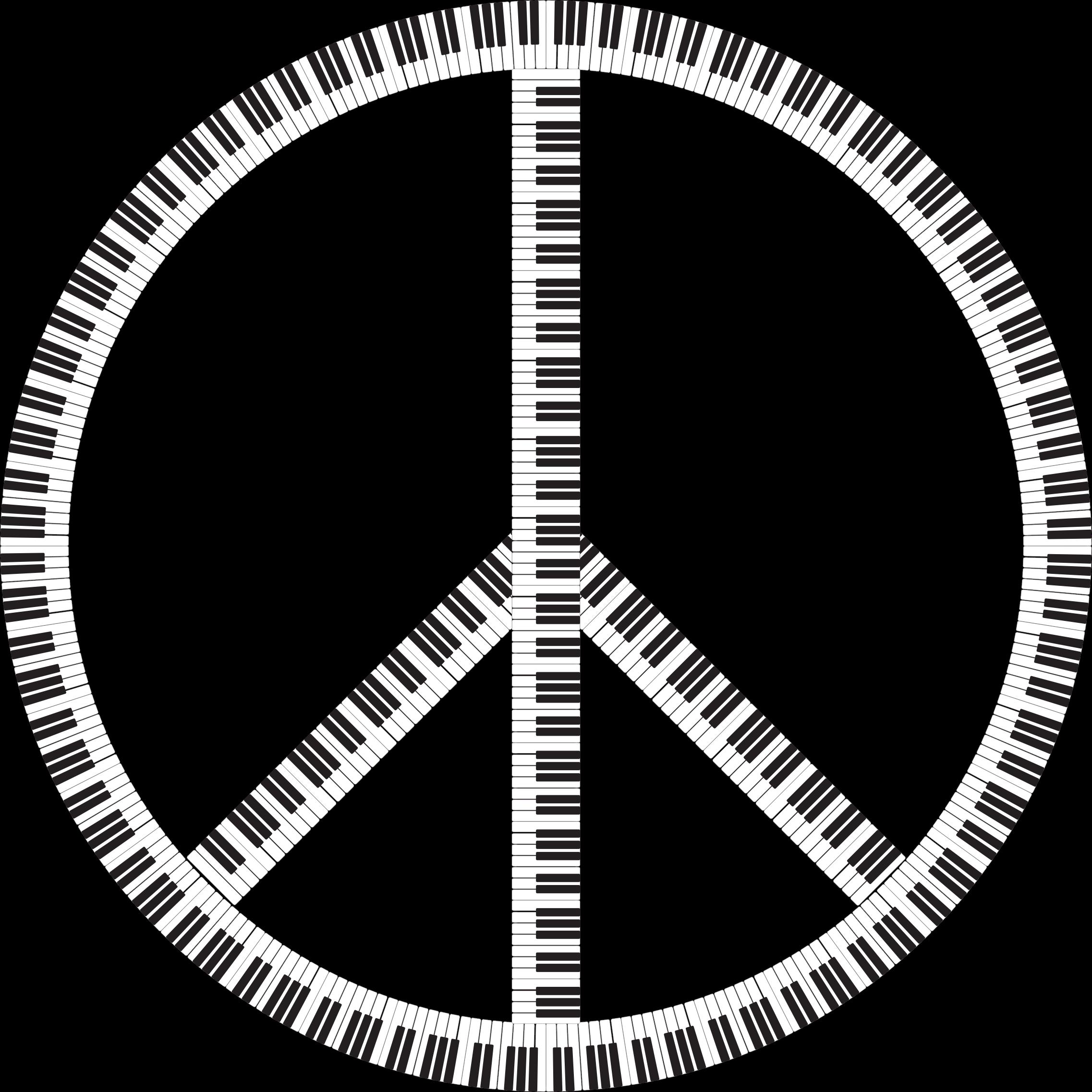 Piano clipart abstract. Peace sign keys big