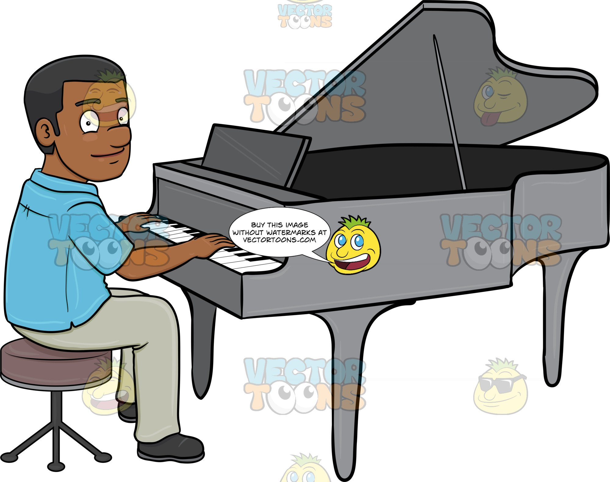 Piano clipart cartoon play. A black man smiles