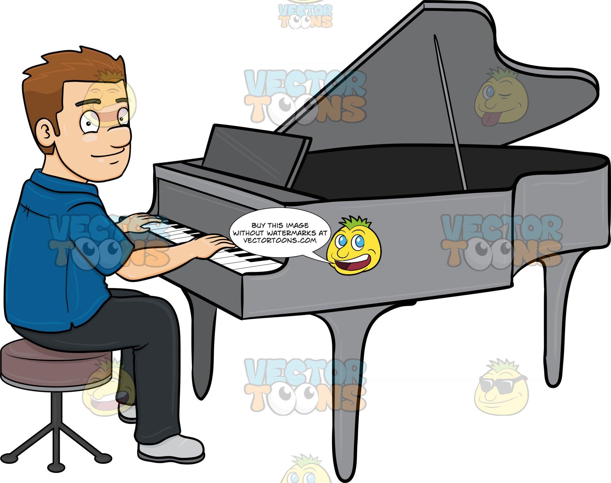 A man smiles while. Piano clipart cartoon