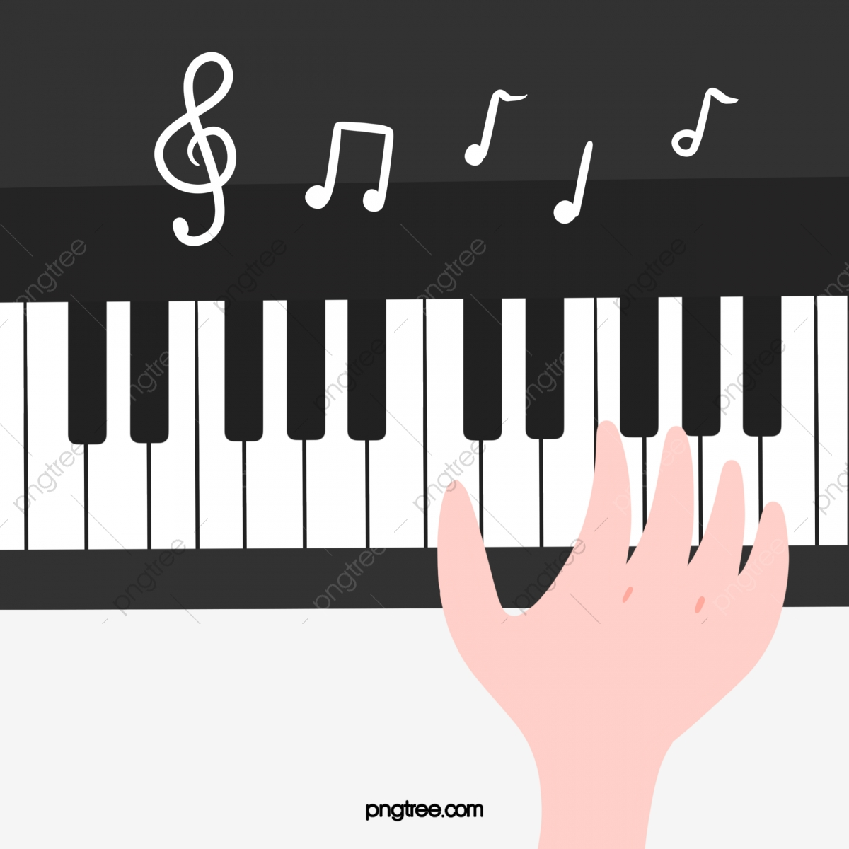 Hand painted playing musical. Piano clipart cute