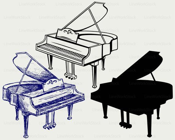 Piano clipart file. Grand svg silhouette cricut