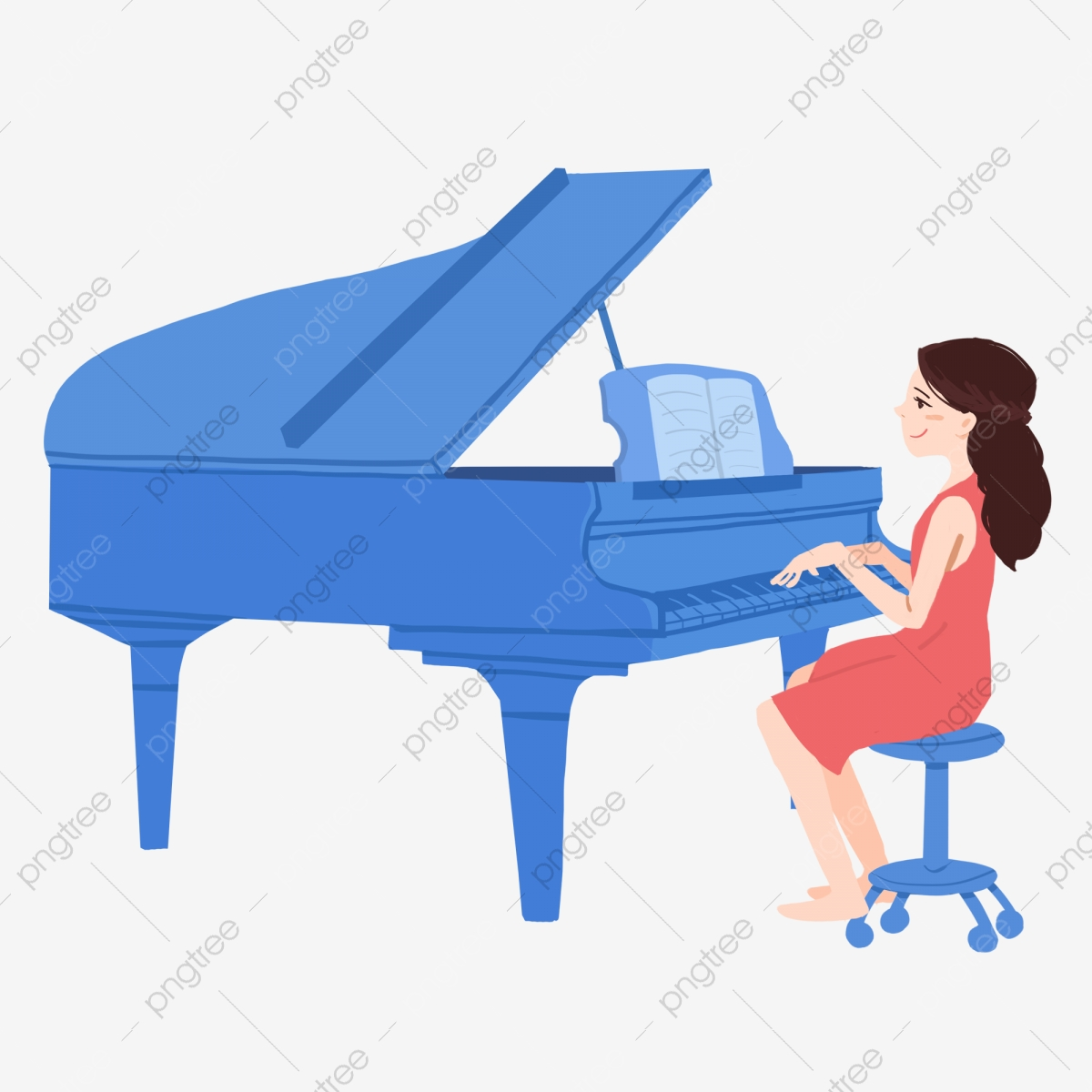 Piano clipart file. Girls playing the alone
