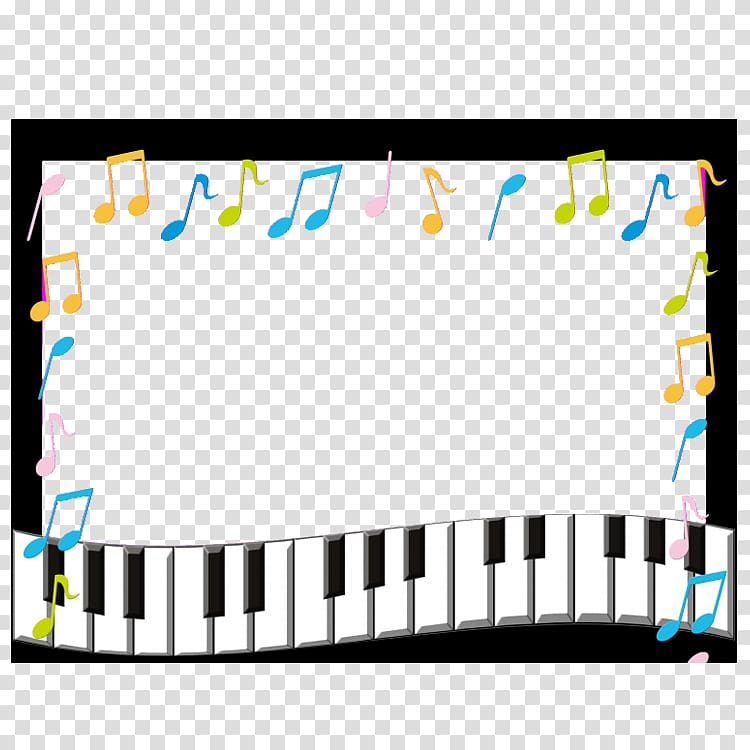 Musical notes illustration note. Piano clipart frame