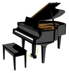Woman grand notes cartoon. Piano clipart free vector